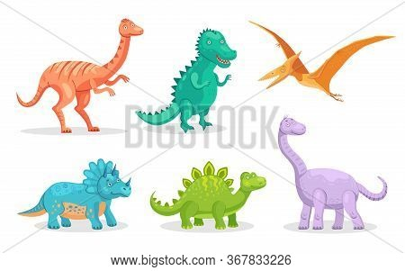 Cute Dino Flat Icon Set. Cartoon Ancient Pterodactyl, Brontosaurus And Triceratops Isolated Vector I