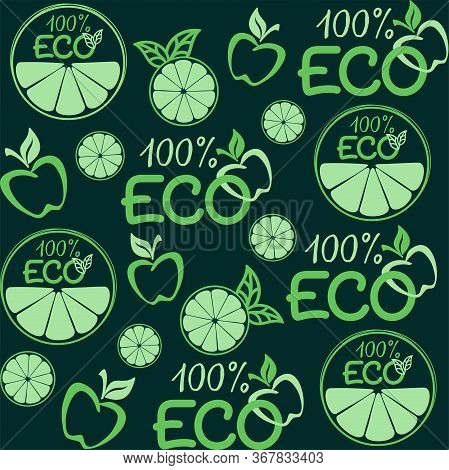 ECO, green background. Vector seamless pattern for natural product, farm market, food market, eco friendly handmade product, natural product packaging. ECO, natural, Bio, organic products concept