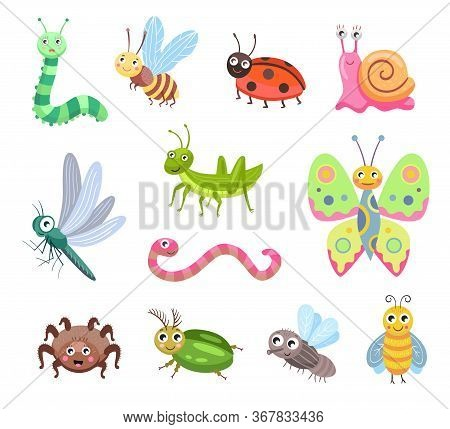 Funny Smiling Bugs Flat Icon Set. Cartoon Cute Caterpillar, Fly, Beetle, Butterfly, Snail, Spider Is