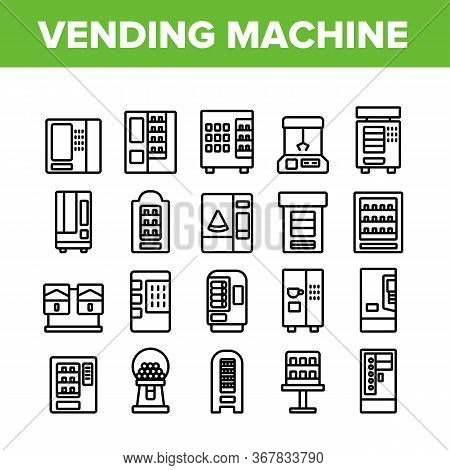 Vending Machine Selling Service Icons Set Vector. Vending Machine Technology With Food And Drink, Co