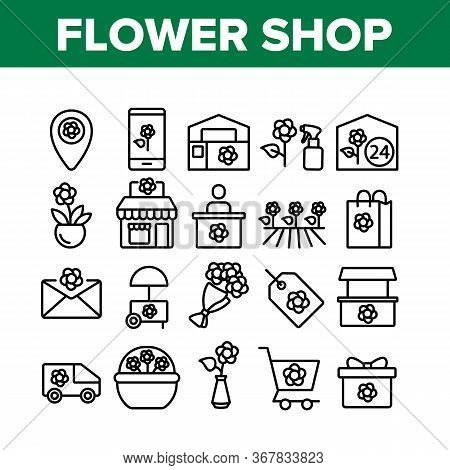 Flower Shop Boutique Collection Icons Set Vector. Flower Shop Delivery And Map Location, Bouquet And