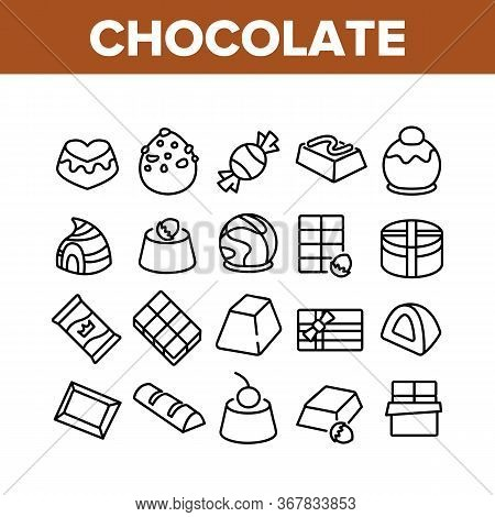 Chocolate Sweet Food Collection Icons Set Vector. Chocolate Candy And Cake, Pie With Cherry And Haze