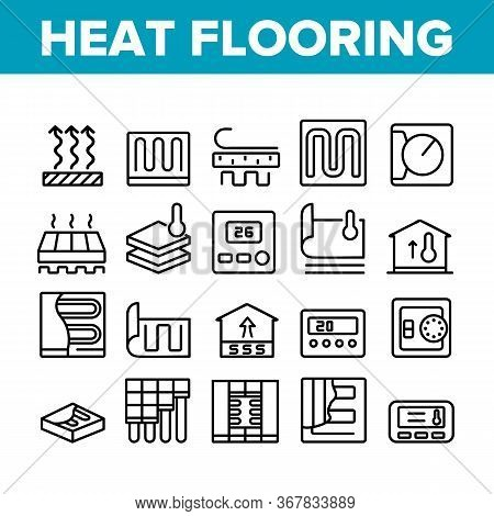 Heat Flooring Device Collection Icons Set Vector. Flooring Temperature Control Regulator And Equipme