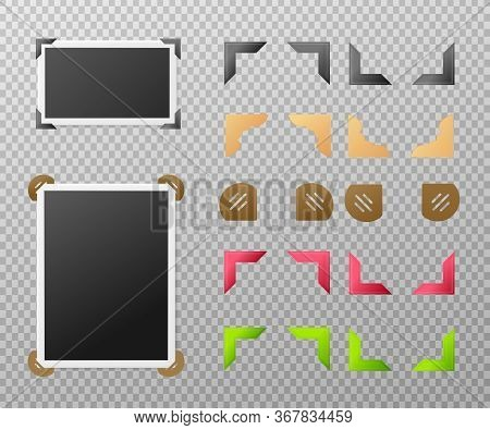 Photo Album Set With Photographs And Corners 3d Vector Illustration Isolated.