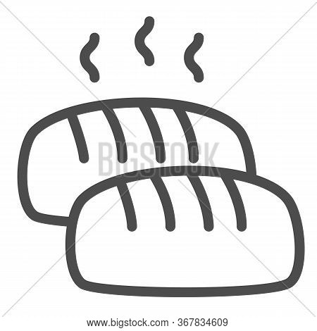 Hot Loaf Line Icon, Bakery Concept, Bread With Steam Sign On White Background, Loaf Of Bread Icon In