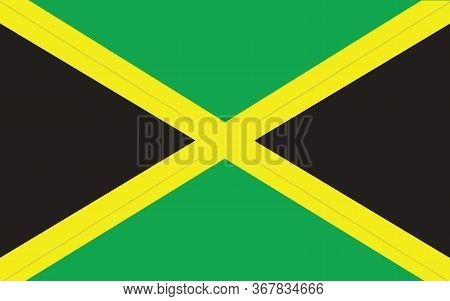 Jamaica Flag Vector Graphic. Rectangle Jamaican Flag Illustration. Jamaica Country Flag Is A Symbol