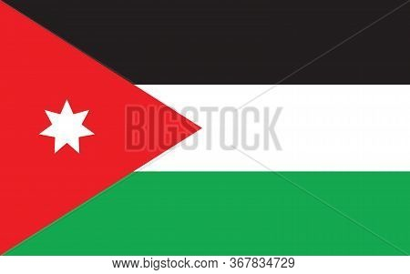 Jordan Flag Vector Graphic. Rectangle Jordanian Flag Illustration. Jordan Country Flag Is A Symbol O