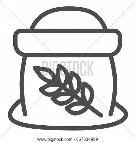 Flour In Open Bag Line Icon, Bakery Concept, Bag Of Grain Sign On White Background, Sack Of Flour Ic