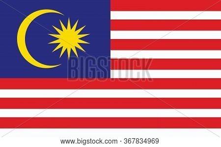 Malaysia Flag Vector Graphic. Rectangle Malaysian Flag Illustration. Malaysia Country Flag Is A Symb