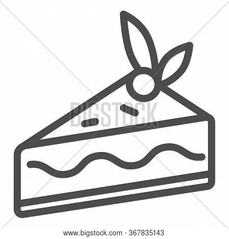 Cake Slice Line Icon, Confectionary Concept, Cheesecake Sign On White Background, Piece Of Chocolate