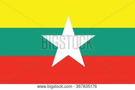 Myanmar Flag Vector Graphic. Rectangle Myanmar Flag Illustration. Myanmar Country Flag Is A Symbol O