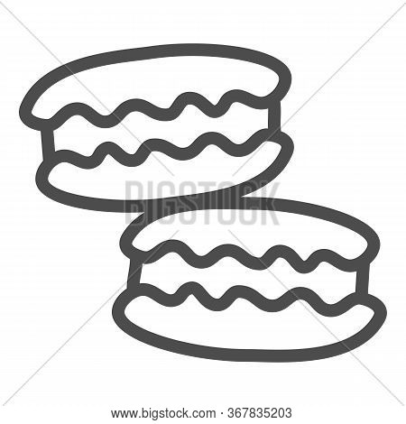 Macaroon Line Icon, Confectionary Concept, Macaroon Sweet Dessert Sign On White Background, Macarons