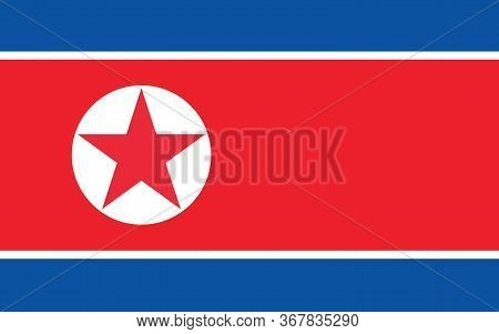 North Korea Flag Vector Graphic. Rectangle North Korean Flag Illustration. North Korea Country Flag