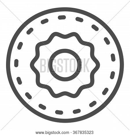 Donut Line Icon, Confectionary Concept, Sweet Tasty Fried Bakery Sign On White Background, Doughnut