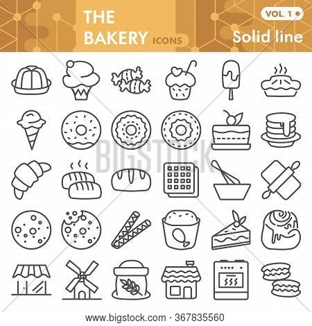 Bakery Line Icon Set, Pastry Symbols Collection Or Sketches. Dessert Signs For Web, Linear Style Pic