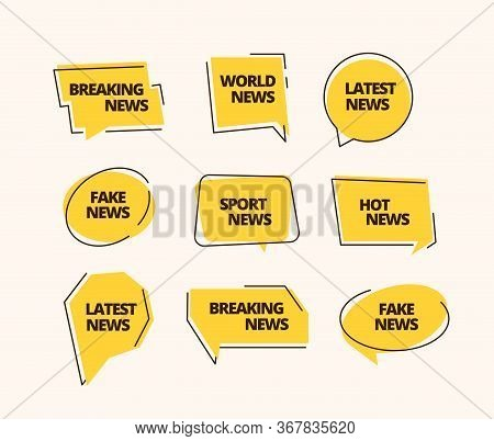 News Banner Set. Information Label News Headline Sticker Sports Fake Breaking Business Hot Yellow, M