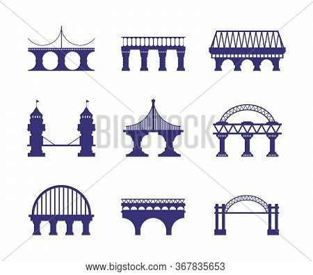 Bridge Architecture. Urban Silhouette Arch Cable-stayed Road Bridge Construction Segments Pillars Ad