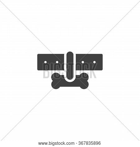 Collar With Dog Bone Vector Icon. Filled Flat Sign For Mobile Concept And Web Design. Dog-collar Gly