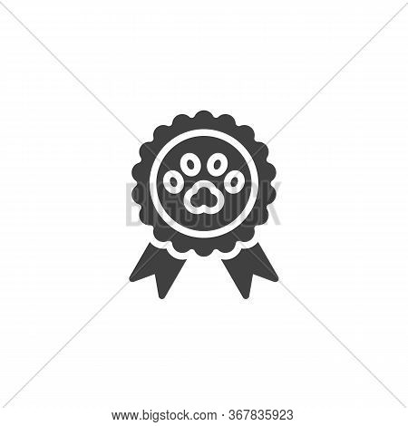 Pets Award Vector Icon. Filled Flat Sign For Mobile Concept And Web Design. Dog Award Medal Glyph Ic