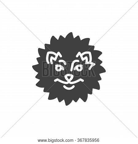 Fluffy Spitz Dog Vector Icon. Filled Flat Sign For Mobile Concept And Web Design. Pomeranian Spitz G