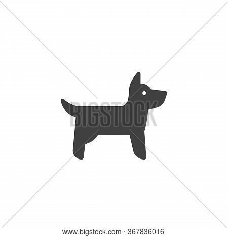 Dog Side View Vector Icon. Filled Flat Sign For Mobile Concept And Web Design. Standing Dog Glyph Ic