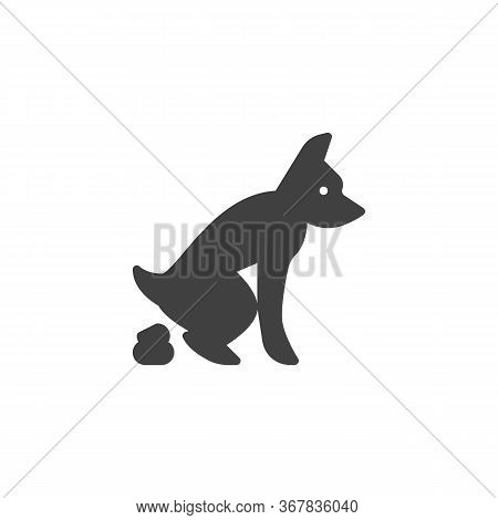 Pooping Dog Vector Icon. Filled Flat Sign For Mobile Concept And Web Design. Defecating Dog Glyph Ic