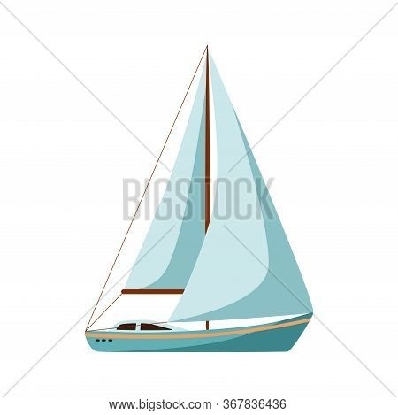 Sailing Yacht. Sailing Boat. Vector Illustration In Cartoon Style Isolated On White Background.