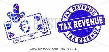 Geometric Euro Banknotes Income Mosaic Pictogram And Tax Revenue Seal. Blue Vector Round Grunge Seal