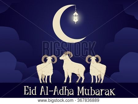 Eid Al-adha Mubarak Greeting Banner With Sacrifice Animals Vector Illustration.