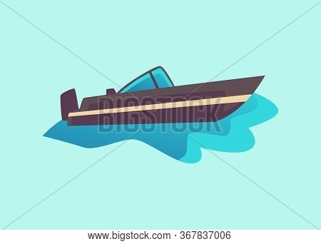 Black Cabin Cruiser Motorboat In Water - Dark Grey Speed Boat From Side View