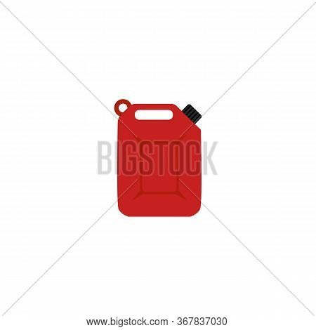 Fuel Container Or Jerrycan Red Cartoon Icon, Flat Vector Illustration Isolated.
