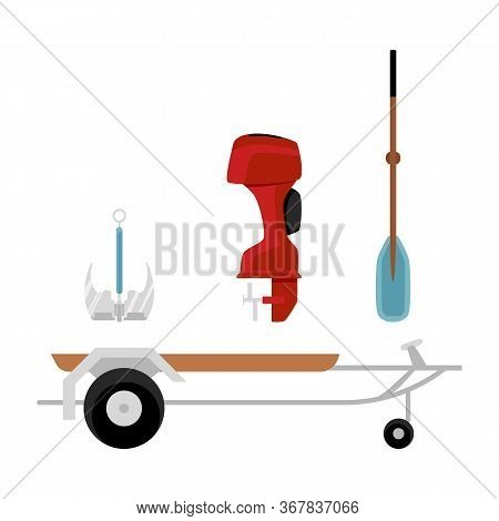 Set Of Motorboat Icons With Hindcarriage Flat Vector Illustration Isolated.