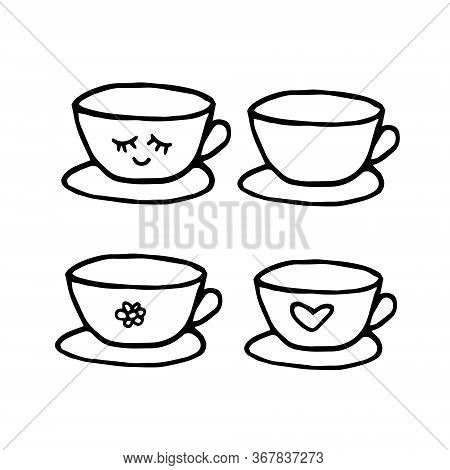 Cup And Saucer Hand Drawn Set Of Elements In Doodle Style. Vector Scandinavian Monochrome Minimalism