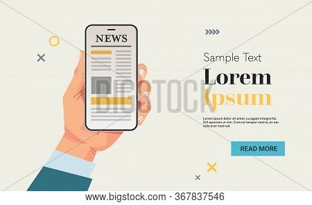 Businessman Hand Holding Mobile Phone Reading News Or Articles On Smartphone Screen Online Digital M