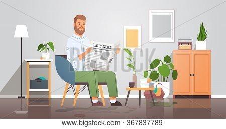 Man Holding Newspaper Reading Daily News Press Mass Media Concept Businessman Sitting On Armchair Li