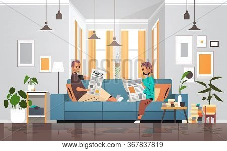 Couple Holding Newspapers Man Woman Sitting N Sofa Reading Daily News Press Mass Media Concept Moder
