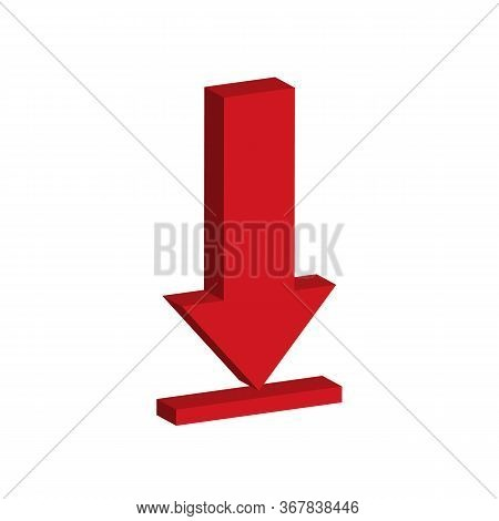 Isometric Download Icon On White Background. Flat Style. 3d Download Icon For Your Web Site Design,