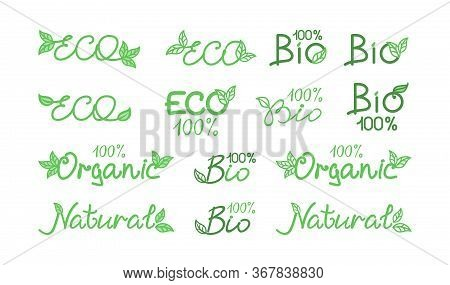 Set of icons, labels, emblems, signs for natural product, farm market, food market, eco friendly handmade product, natural product packaging. ECO, Bio, organic, natural products concept. Vector design