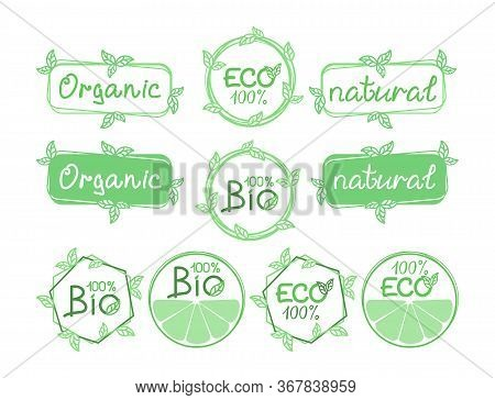 Set of labels, emblems, signs, icons for natural product, food market, farm market, eco friendly handmade product, natural product packaging. ECO, Bio, organic, natural products concept. Vector design