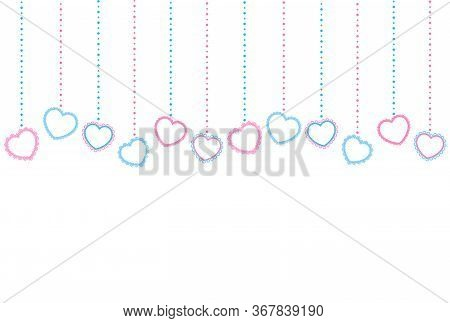 Horizontal Pattern Of Light Blue And Pink Hearts With An Openwork Edge And Beads On A White Backgrou