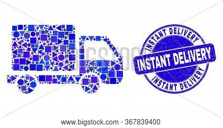 Geometric Lorry Mosaic Pictogram And Instant Delivery Seal Stamp. Blue Vector Round Scratched Seal W