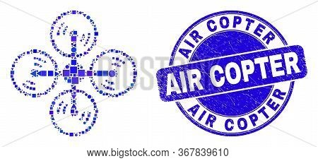 Geometric Air Copter Mosaic Pictogram And Air Copter Seal Stamp. Blue Vector Round Grunge Seal Stamp