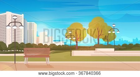 Public Park With Wooden Bench And Streetlights Cityscape Background Horizontal Vector Illustration