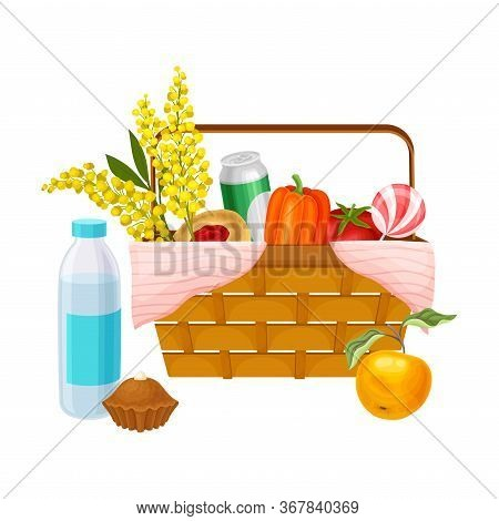 Picnic Wicker Hamper With Foodstuff For Eating Outdoors Vector Illustration