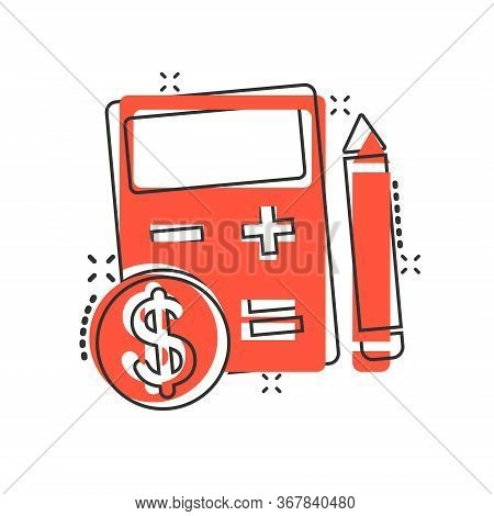 Tax Payment Icon In Comic Style. Budget Invoice Cartoon Vector Illustration On White Isolated Backgr