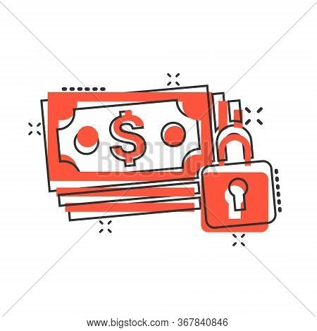 Dollar Banknote With Lock Icon In Comic Style. Dollar Cash Safe Cartoon Vector Illustration On White