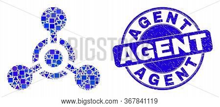 Geometric Toxic Nerve Agent Mosaic Pictogram And Agent Seal Stamp. Blue Vector Round Textured Seal S