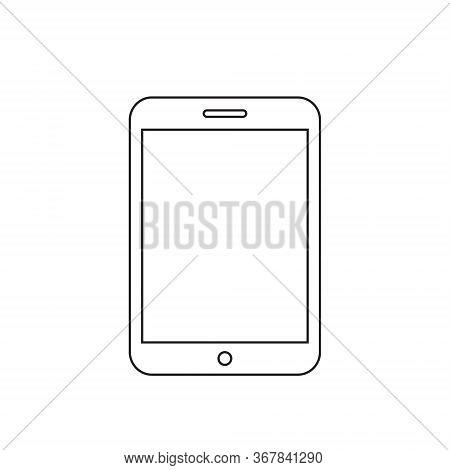 Black Outline Tablet Computer Icon Vector. Line Art Of Tab Design