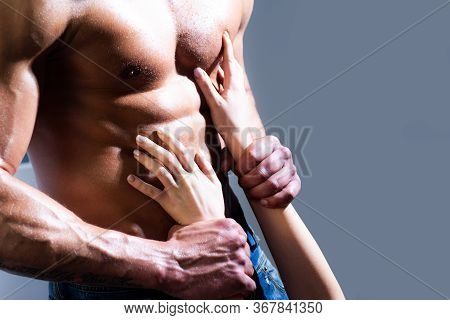 Sexy Muscular Male Torso Six Packs On Wet Body Of Athletic Man With Bare Chest With Female Hands, Cl