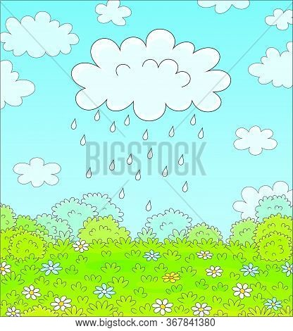 Funny Plump Rain Cloud With Dripping Raindrops Over A Green Field With Beautiful Flowers On A Pretty